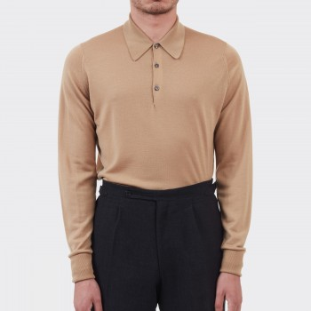 Merino Wool Long Sleeves Polo Shirt : Light Camel