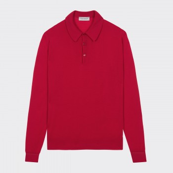 Merino Wool Long Sleeves Polo Shirt : Red