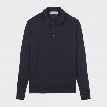 Merino Wool Long Sleeves Polo Shirt : Dark Grey