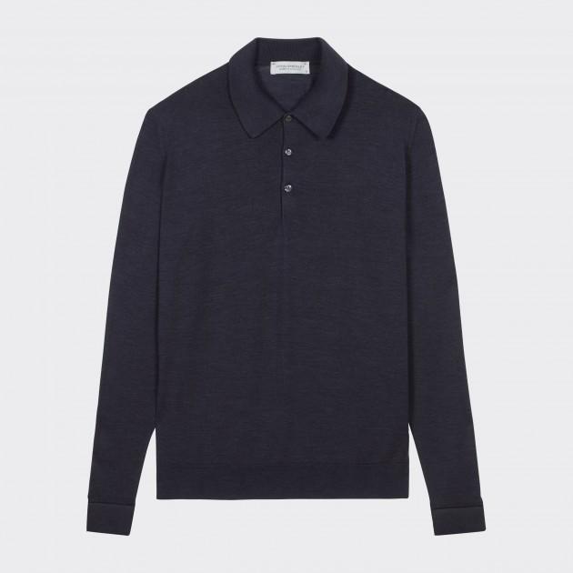Merino Wool Long Sleeves Polo Shirt : Dark Grey