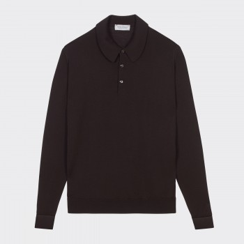 Merino Wool Long Sleeves Polo Shirt : Chocolate