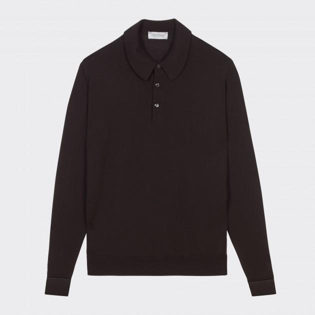 Merino Wool Long Sleeves Polo Shirt : Chocolate
