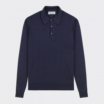 Merino Wool Long Sleeves Polo Shirt : Navy