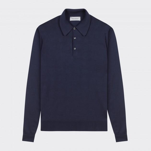 Merino Wool Long Sleeves Polo Shirt : Navy