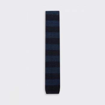 Stripe Knitted Tie : Navy / Dark Navy