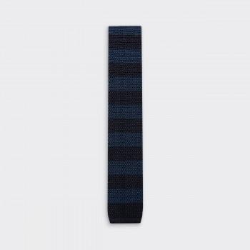 Cravate Tricotée à Rayures : Marine / Marine Foncé