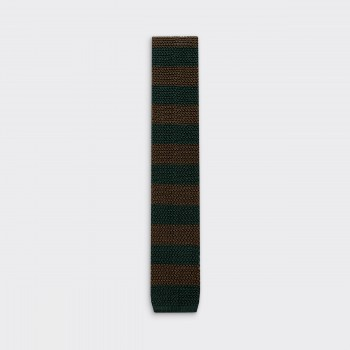 Stripe Knitted Tie : Olive / Dark Green