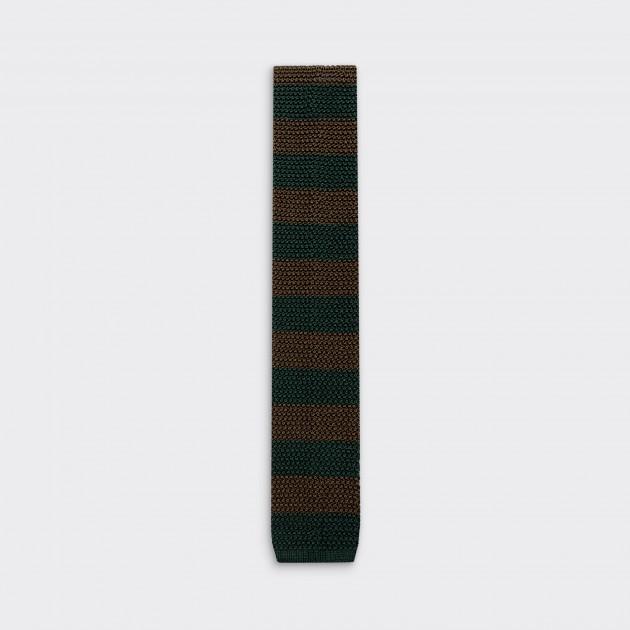 Stripe Knitted Tie: Olive / Dark Green