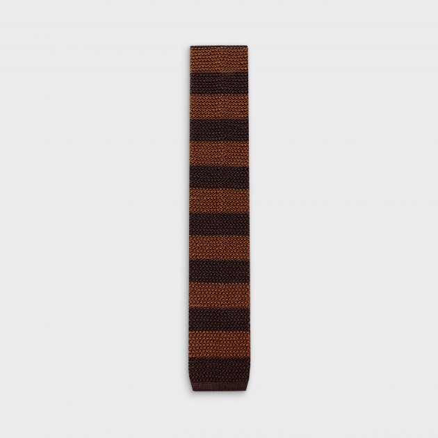 Stripe Knitted Tie : Brown / Dark Brown
