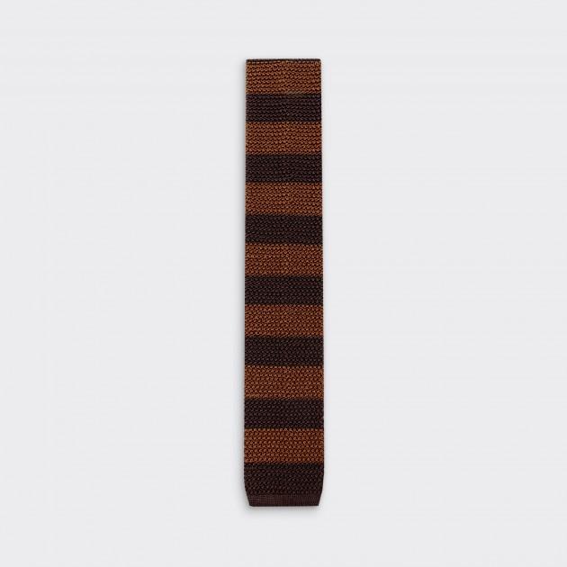 Stripe Knitted Tie: Brown / Dark Brown