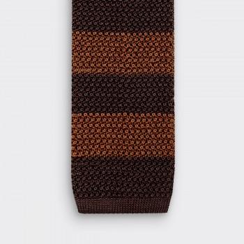 Cravate Tricotée à Rayures : Marron / Marron Foncé