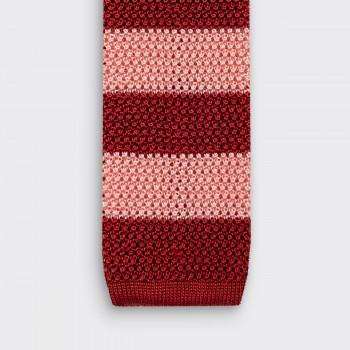 Cravate Tricotée à Rayures : Rouge / Rose