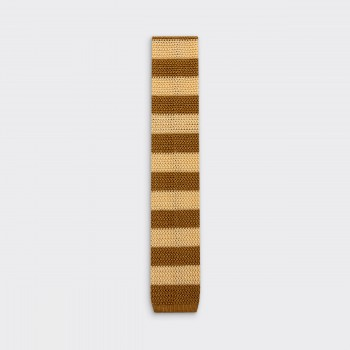 Stripe Knitted Tie : Cream / Gold