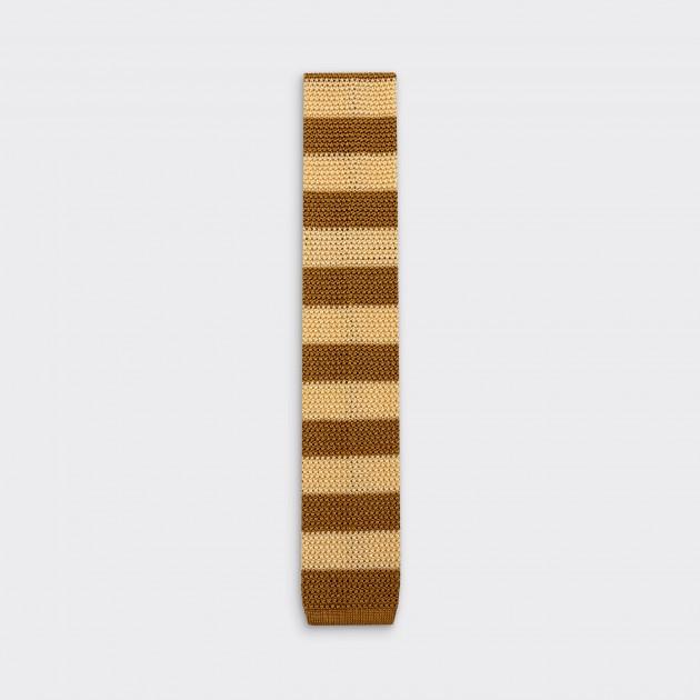 Cravate Tricotée à Rayures : Crème / Gold