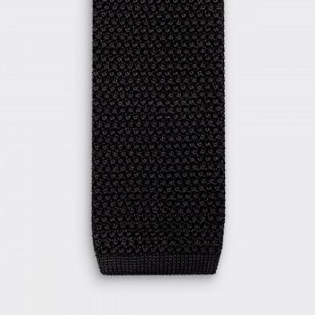 Cravate Tricotée Soie: Noir