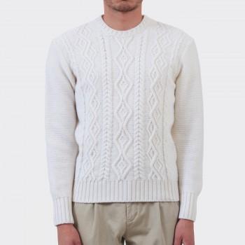 Pull Aran Mérinos Col Rond : Blanc
