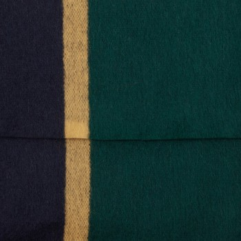 "Écharpe ""Ivy"" Lambswool et Angora  : Marine/Jaune/Vert"