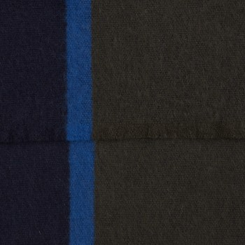 "Écharpe ""Ivy"" Lambswool et Angora  : Marine/Bleu/Olive"