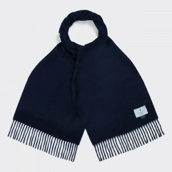 Lambswool and Angora Scarf : Midnight Blue