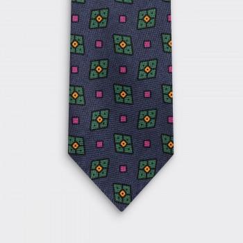 Cravate Soie Motif Losange : Marine/Vert/Violet