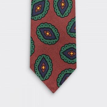 Cravate Soie Large Medaillon : Marron/Vert