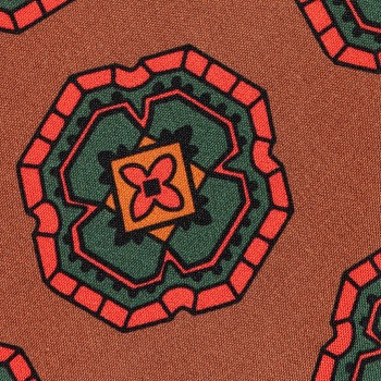 Cravate Soie Large Medaillon : Marron/Rouge