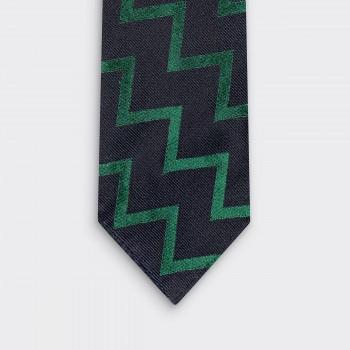 Exclusivité BEIGE - Cravate Rayures Club Zig-Zag : Marine/Vert