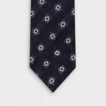 Cravate Soie Motif Carré :Marine/Vert