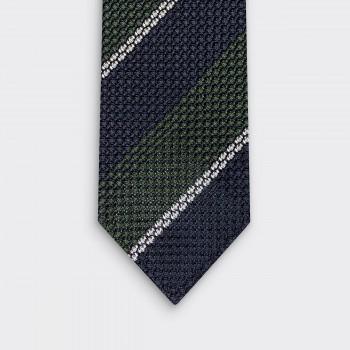 Cravate Rayures Club Grenadine de Soie : Marine/Vert/Blanc