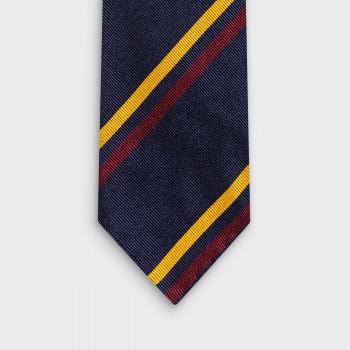 Cravate Double Rayures Club : Marine/Jaune/Rouge