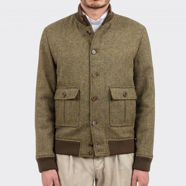Blouson A-1 Tweed Fox Brothers : Olive