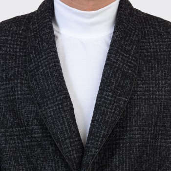Smocking Jacket Col Châle Prince de Galles : Gris Foncé