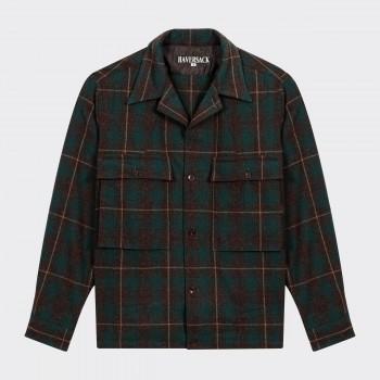 « Shirt-Jacket » à Carreaux Col Ouvert : Vert/Gris/Beige