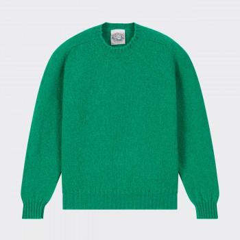 Brushed Wool Crewneck Knit : Kelly Green
