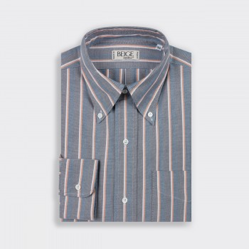 "Stripe Classic ""OCBD"" Shirt : White/Yellow/Brown/Navy"