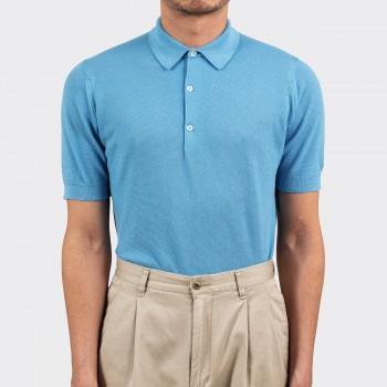 Polo Coton Texturé : Bleu Azur