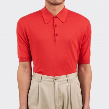 Polo Manches Courtes Coton : Rouge Vermeil