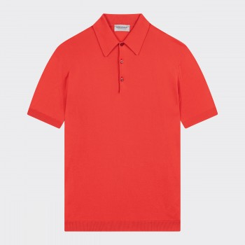 Short Sleeves Cotton Polo Shirt : Vermeil Red