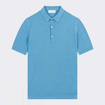 Textured Cotton Polo Shirt : Azure Blue