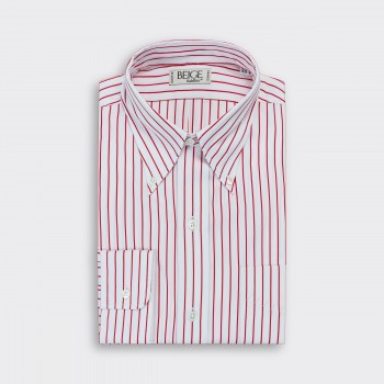 Chemise Col Boutonné Rayures : Blanc/Rouge