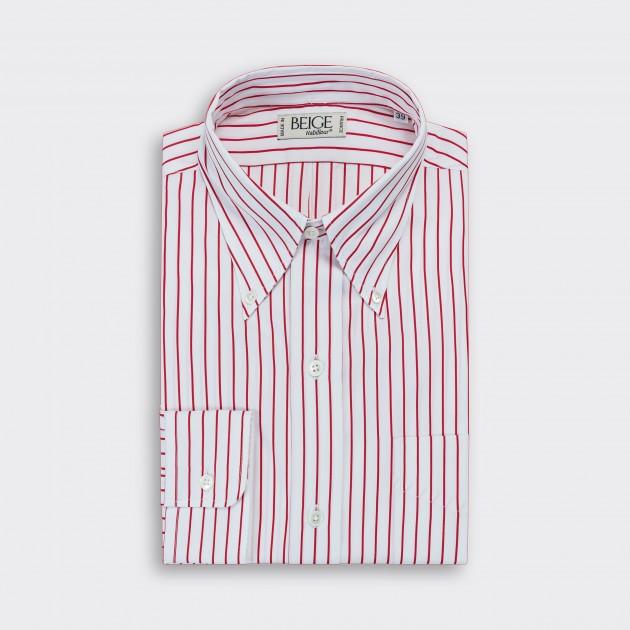 Stripes Button-Down Shirt : White/Red