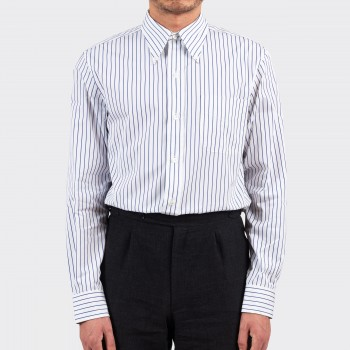 Stripes Button-Down Shirt : White/Blue