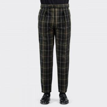 Pantalon Carreaux à Pinces : Noir/Olive/Écru