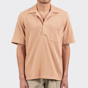 Polo Col Ouvert Jersey de Coton: Corail/Écume