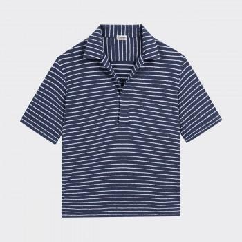 Polo Col Ouvert Jersey de Coton: Marine/Blanc