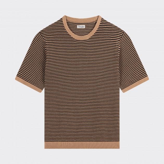 T-shirt Manches Courtes Coton Texturé : Beige/Noir
