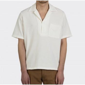Polo Col Ouvert Jersey de Coton: Blanc