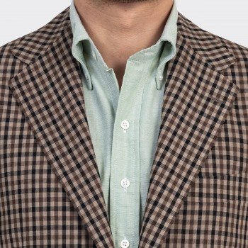 "Checked ""Balloon"" Wool Jacket : Brown/Beige"