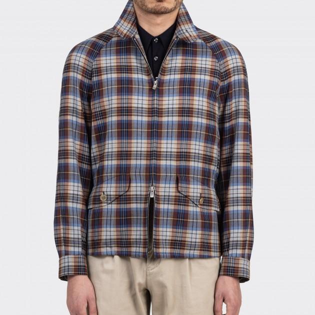 "Fox Brothers ""Summer Wool"" Golfer Jacket : Blue/Brown/Beige"