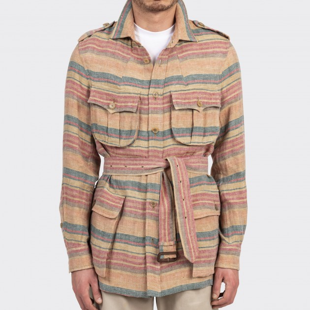 Linen Stripe Safari Jacket : Beige/Grenadine/Green